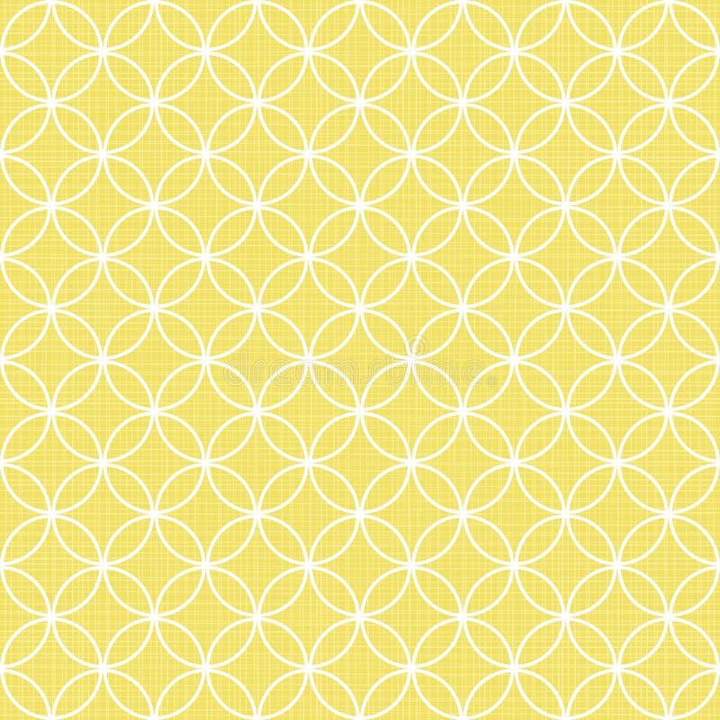 Retro vitcirklar i rader på solig guling royaltyfri illustrationer