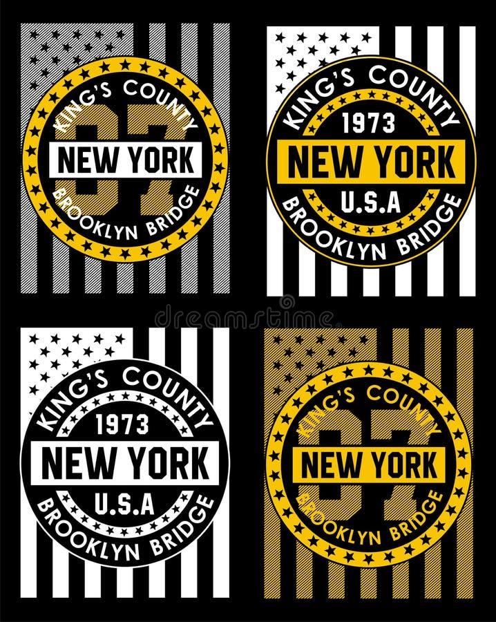 02 Retro vlag van New York, stock illustratie