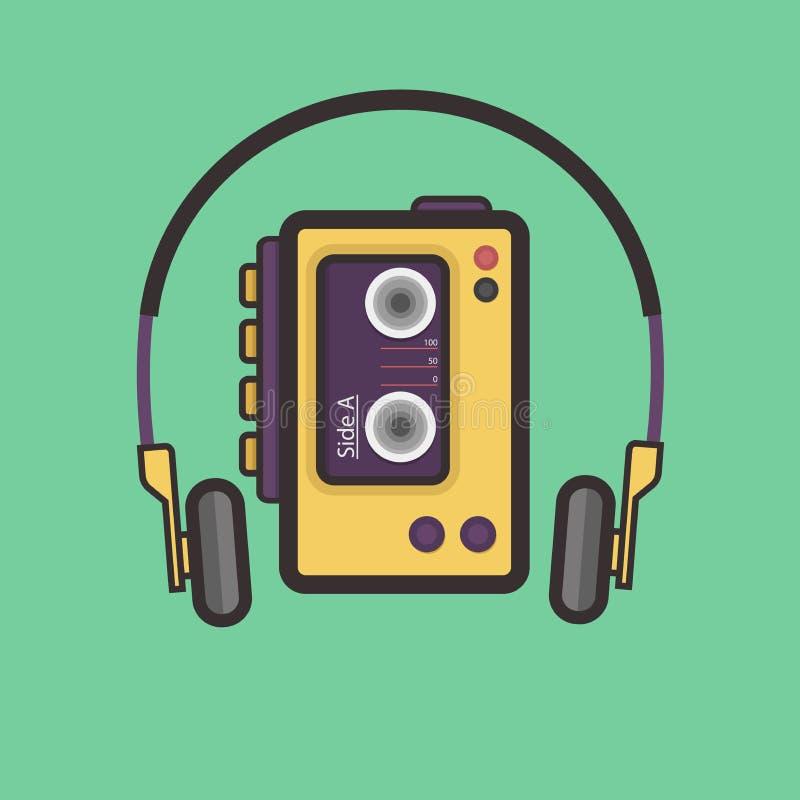 Retro Vlak de Stijl Vectorpictogram van de Cassettespeler stock illustratie