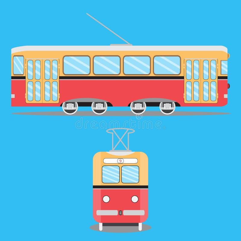 Retro vlakke tram royalty-vrije illustratie