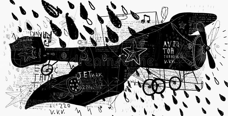 Retro vliegtuig stock illustratie