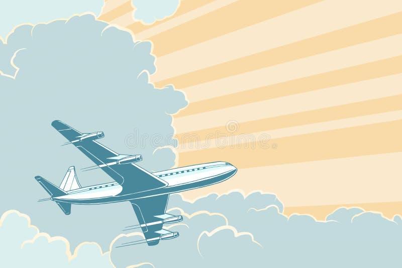 Retro vliegtuig die in de wolken vliegen De achtergrond van de luchtreis royalty-vrije illustratie