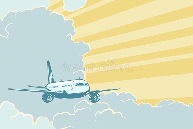 Retro vliegtuig die in de wolken vliegen De achtergrond van de luchtreis stock illustratie