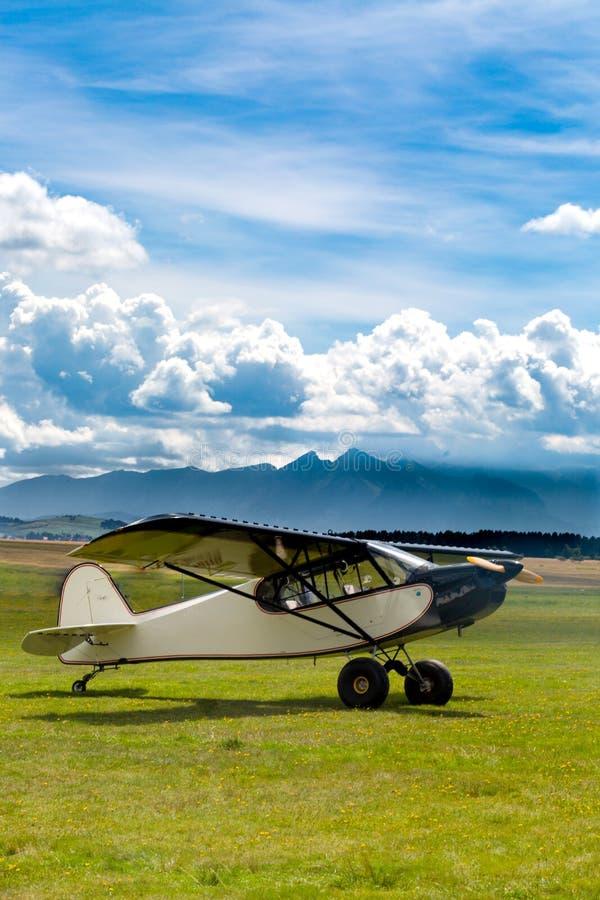 Retro vliegtuig op weide in bergen is geland die royalty-vrije stock afbeelding
