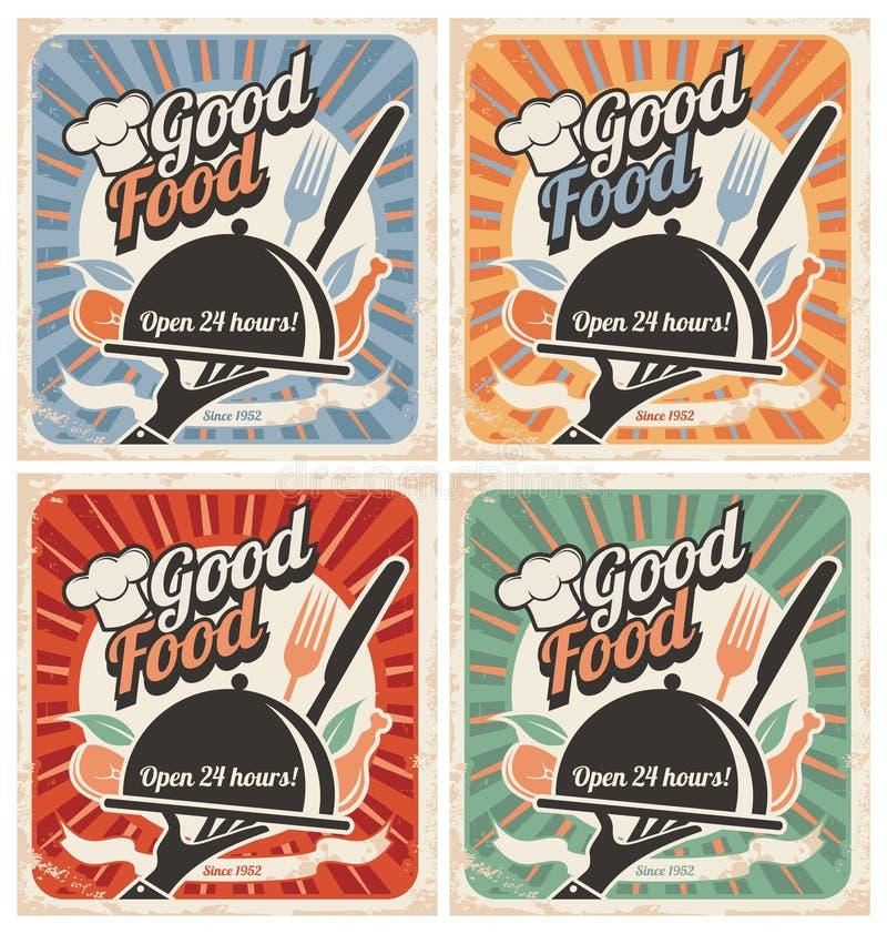 Retro voedselaffiches royalty-vrije illustratie