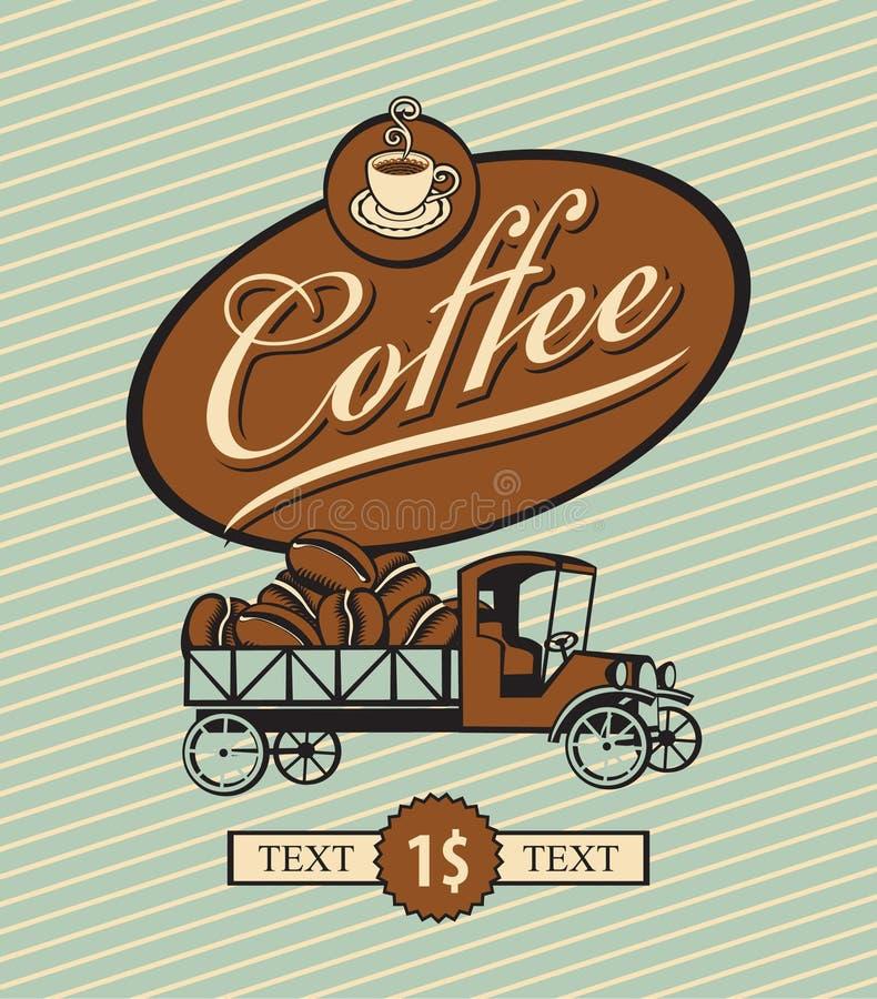 Retro vrachtwagen en koffie stock illustratie