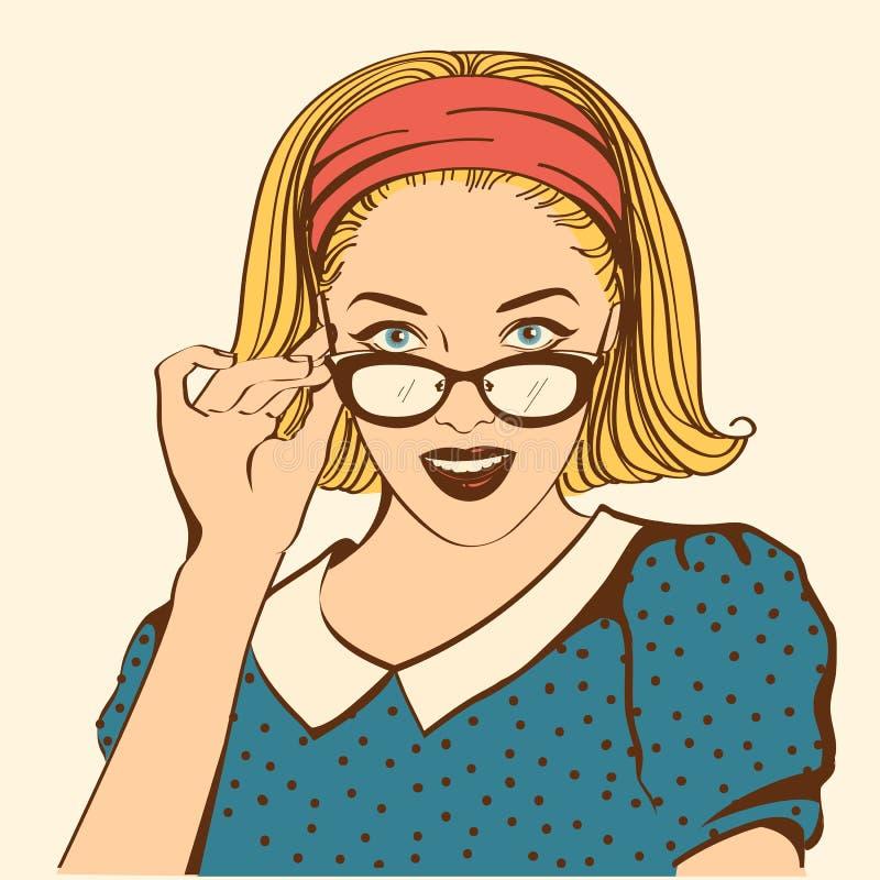 Retro vrij jong vrouwengezicht met zonnebril Vectorkleur portr vector illustratie