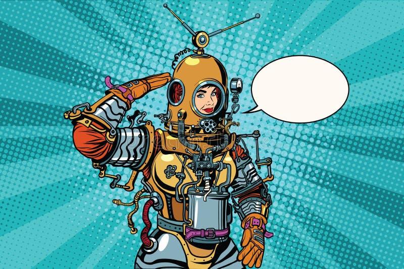Retro vrouw groet astronaut of diepzeeduiker royalty-vrije illustratie