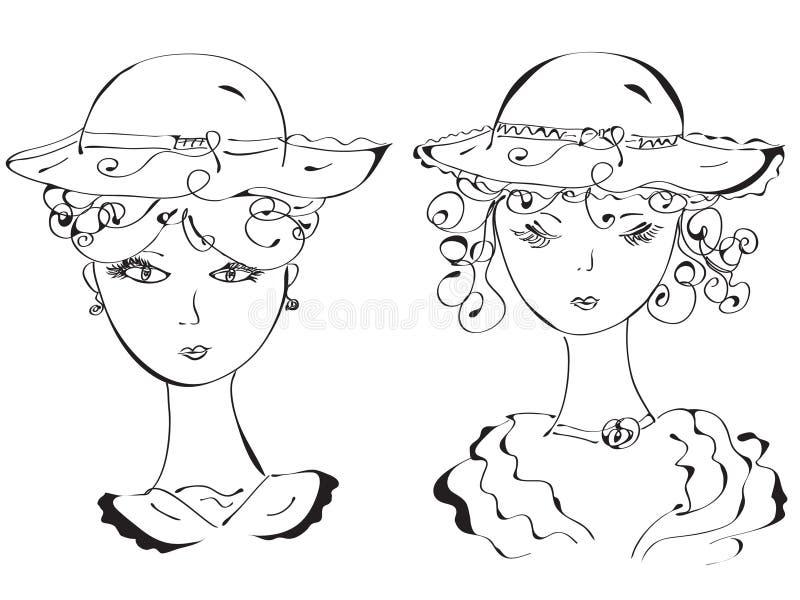Retro vrouw in hoeden stock illustratie