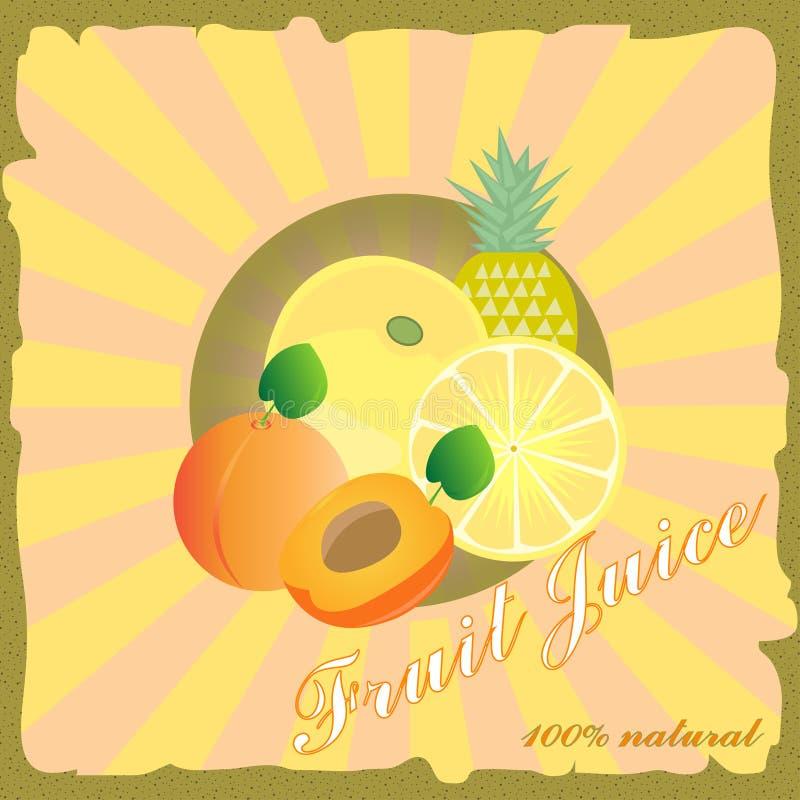 Retro vruchtensapaffiche royalty-vrije illustratie