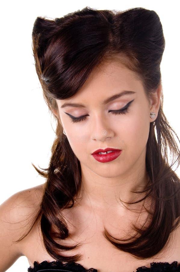retro włosiany makeup zdjęcia royalty free