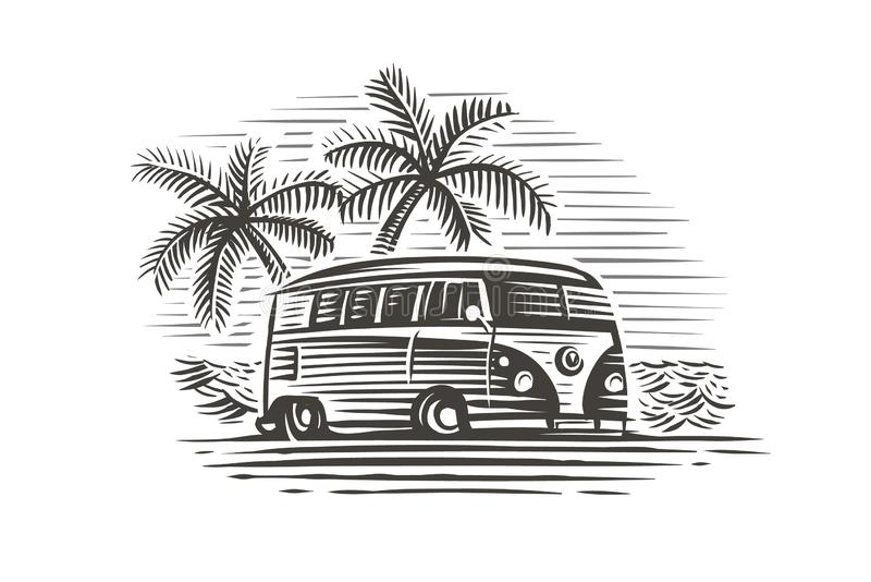 Retro wagon near sea and palms monochrome illustration. Vector. Retro wagon near sea and palms monochrome illustration. Vector, isolated, layered vector illustration