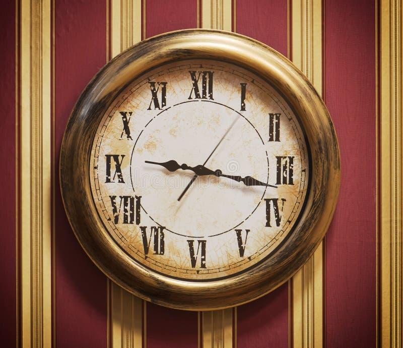 Download Retro Wall Clock And Striped Wallpaper Stock Photo