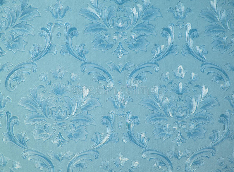 Retro wallpaper. Old fashioned patterned blue wallpaper royalty free stock image