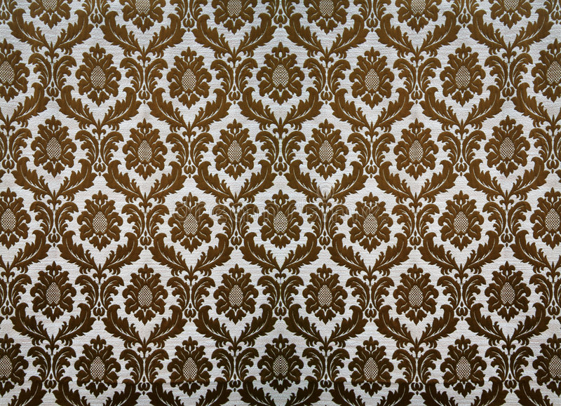Retro wallpaper. Brown swirly floral retro wallpaper stock photography