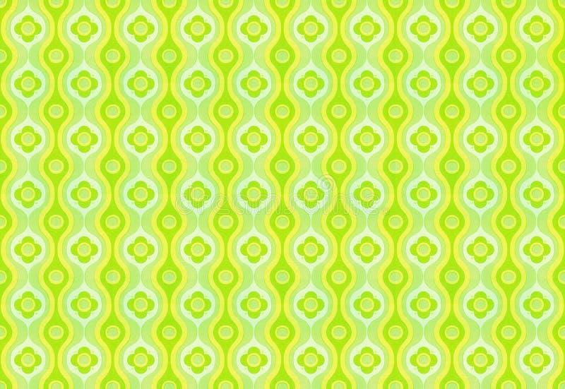 Retro wallpaper. Green - yellow vintage wallpaper pattern stock photos
