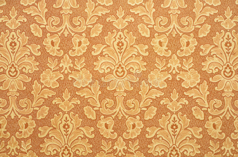Retro Wallpaper. Floral vintage wallpaper background. Old Yellowed orange color stock images