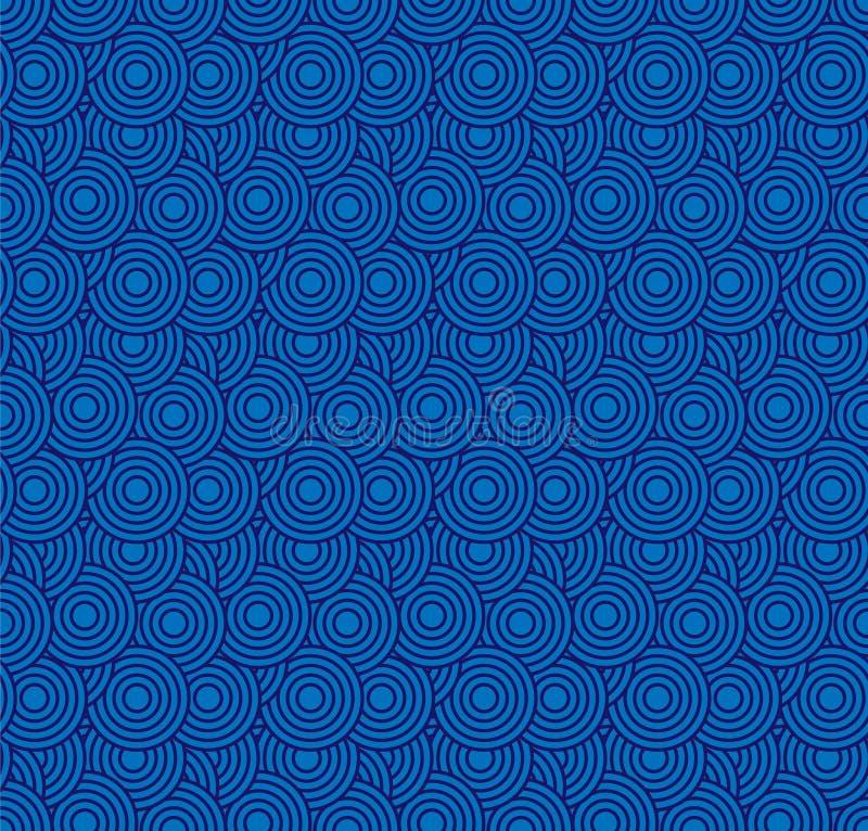 retro wallpaper Abstrakt sömlös geometrisk modell med cirklar på blått vektor illustrationer
