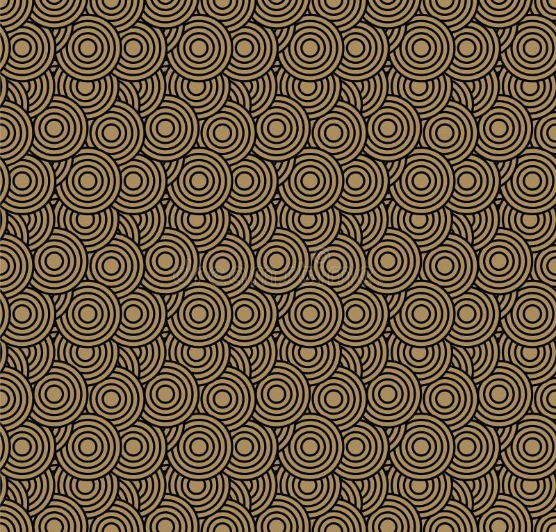 retro wallpaper Abstrakt sömlös geometrisk modell med cirklar på brunt stock illustrationer