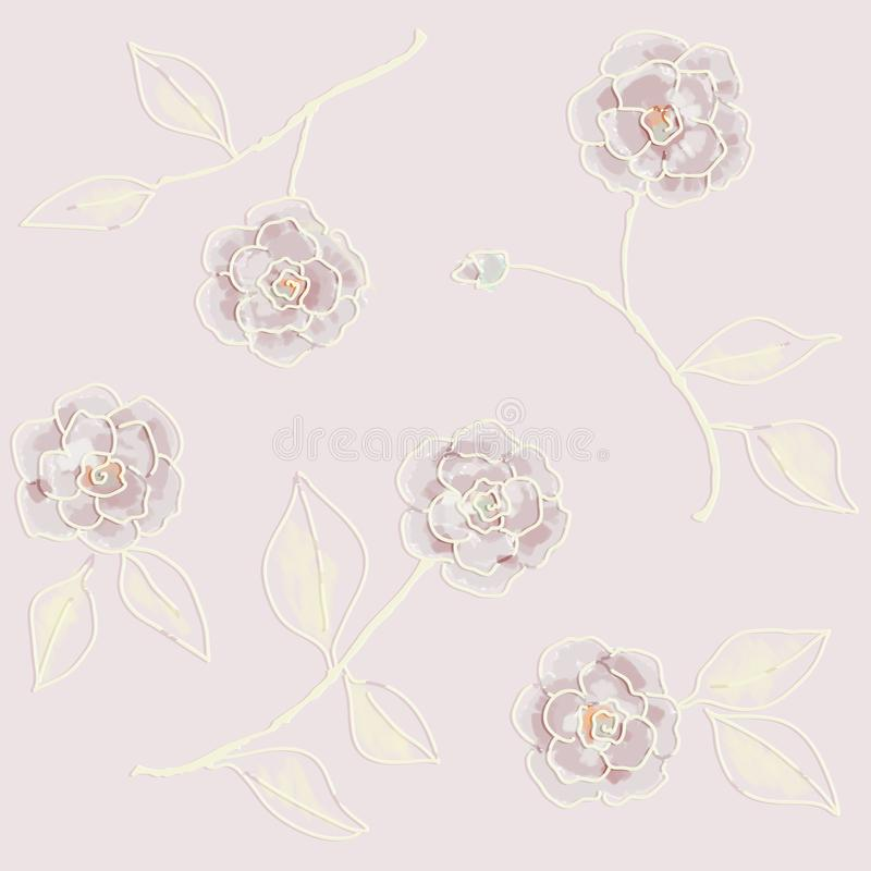 Retro wallpaper. Hand drawn flowers painted. Seamless patterns bitmap. Home, interiors vector illustration