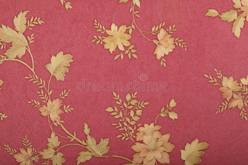 Retro wallpaper. Red wallpaper in a hotel stock photography