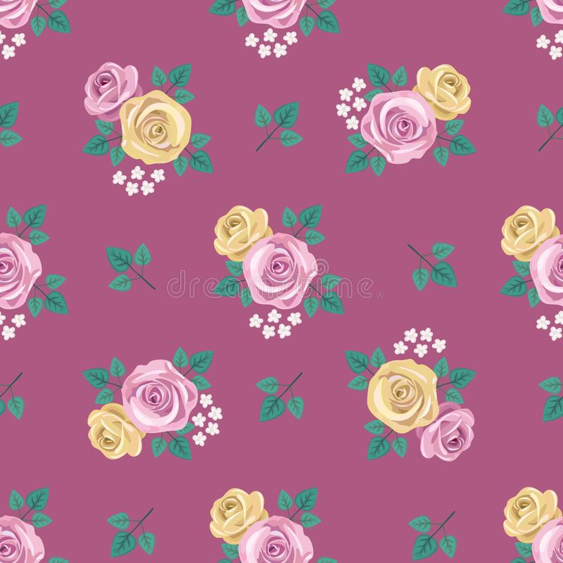 Download Retro Wallpaper Style Seamless Vintage Romantic Pattern With Yellow And Pink Roses White