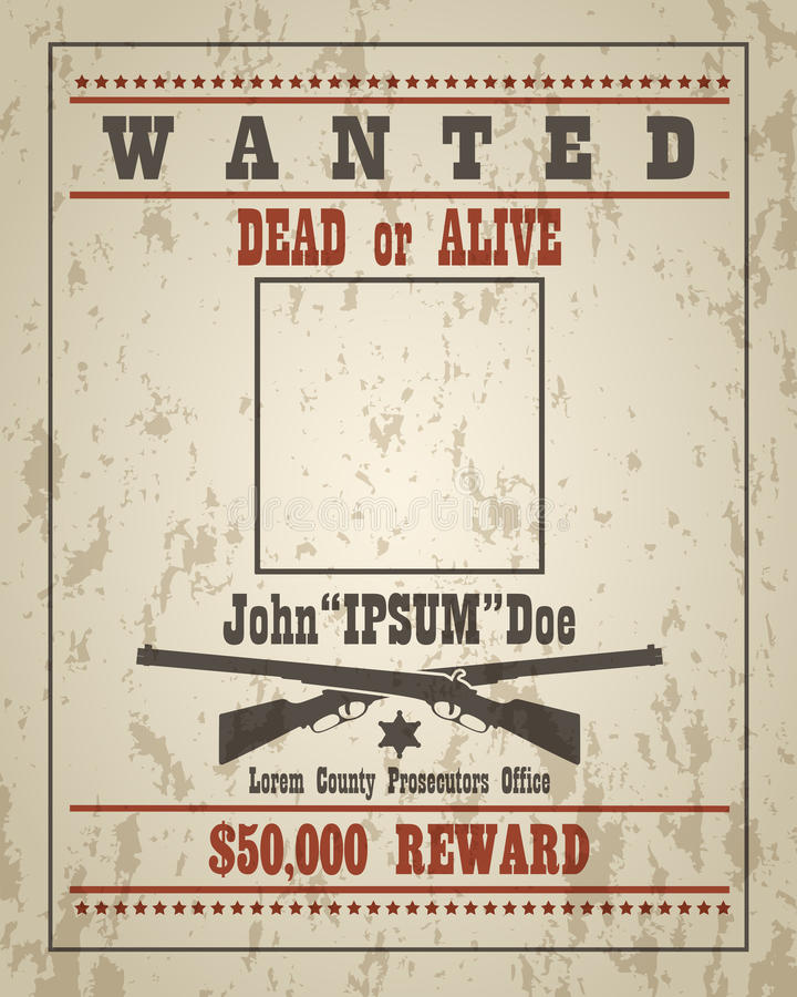 Retro Wanted Poster Template royalty free illustration