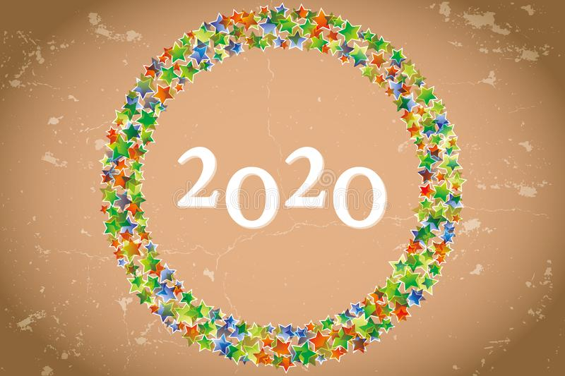 2020 on retro warm brown background with sparkling stars and grunge vector illustration