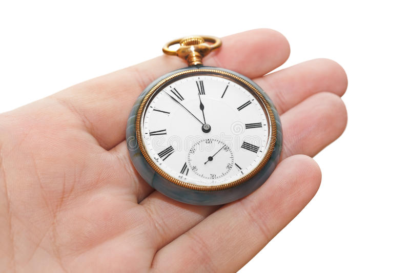 Retro watch in hand. Isolated on white background stock images