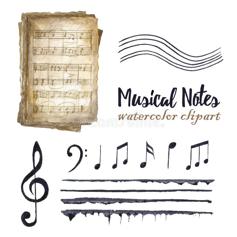 Retro watercolor musical notes set. stock photo