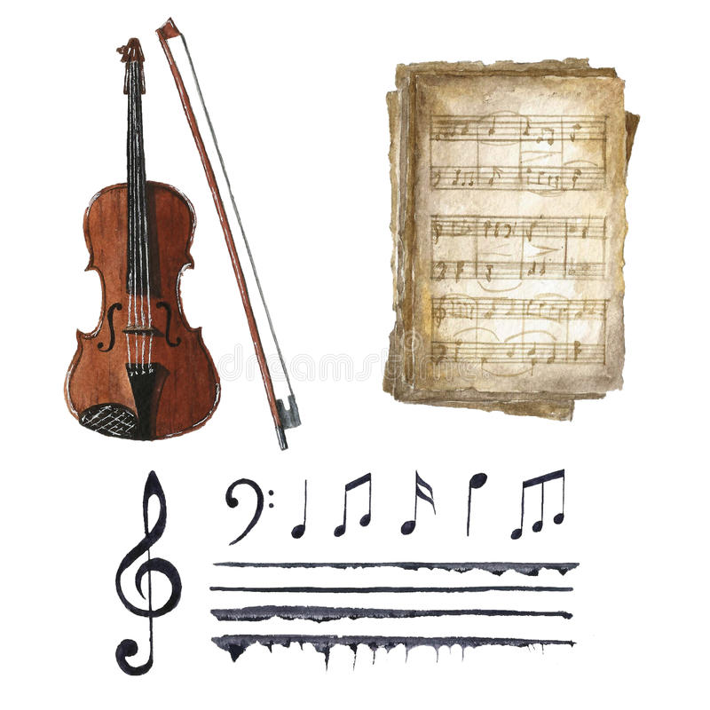Retro watercolor musical notes set. stock photos