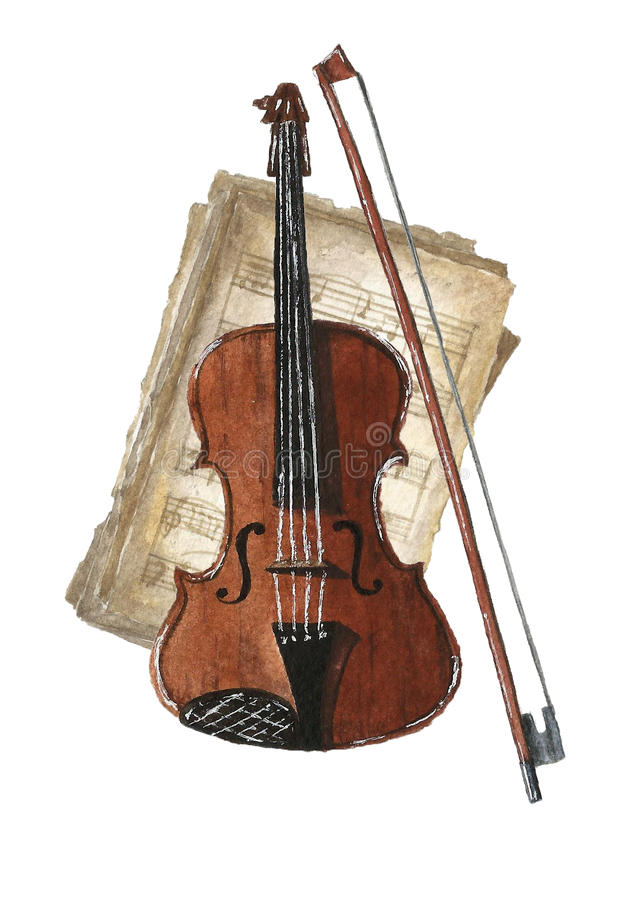 Retro watercolor musical notes set. royalty free stock photo