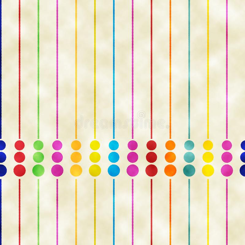 Retro watercolored strepen en stippelt achtergrondpatroon stock illustratie