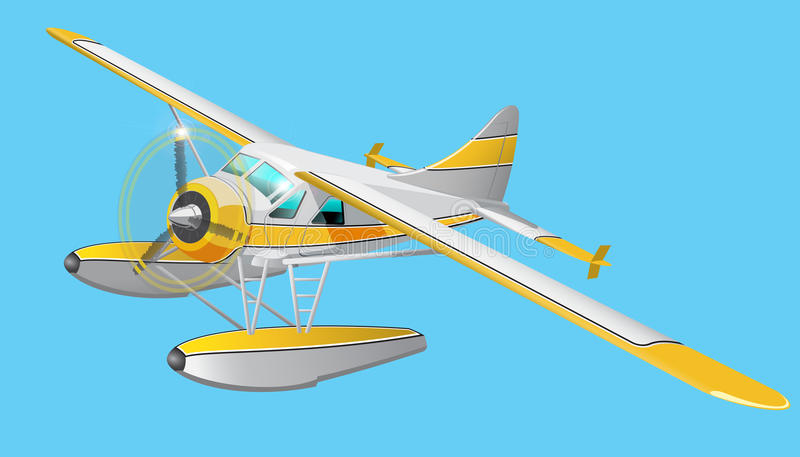 Retro watervliegtuigillustratie royalty-vrije illustratie