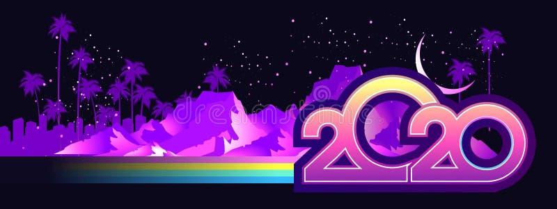 2020 retro wave calendar stock photography