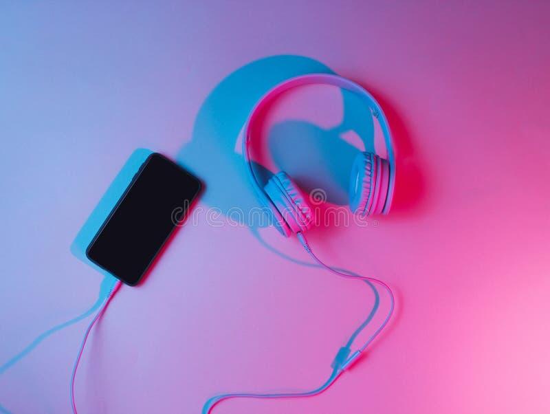 Retro wave, neon light, ultraviolet. Top view, minimalism. stock photos