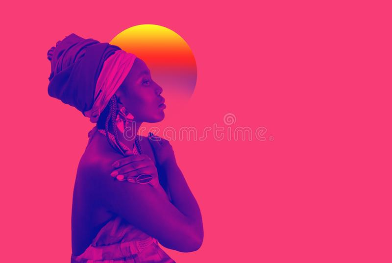 Retro wave, neon vapor wave portrait of African young woman with ethnic headwrap. Blue and pink duotone stock image