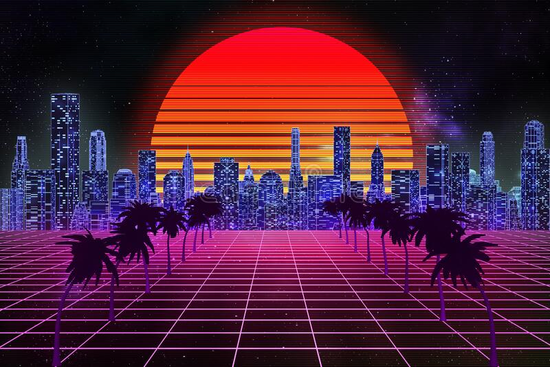 Retro wave, synthwave or vaporwave skyline scenery or landscape at night with starry sky and sun. 3d rendering abstract royalty free illustration