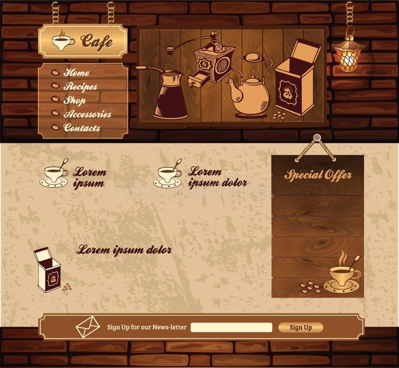 Retro- Website des Kaffeeschmutzes lizenzfreie abbildung