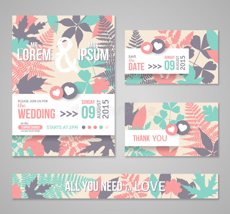 Retro Wedding Invitations With Forest Leaves Stock Photo - Image of ...
