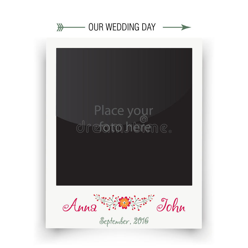 Retro Wedding Photo Frame Polaroid. Template For Stock Vector