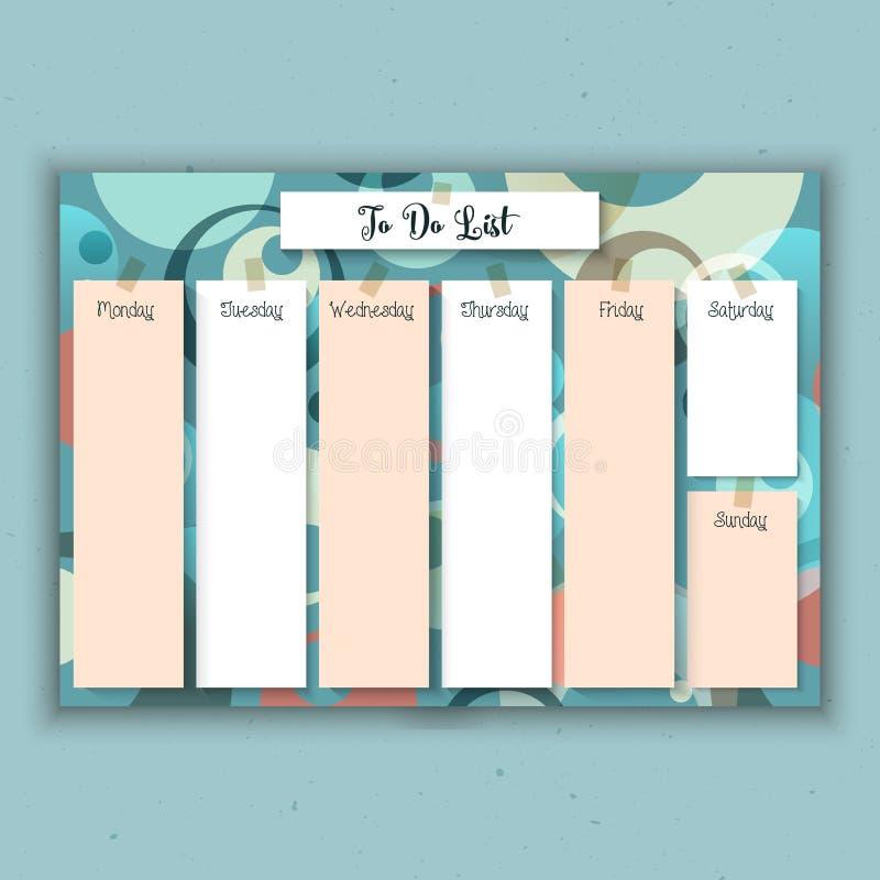 Retro weekly planner stock illustration