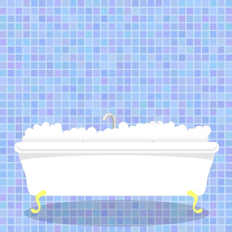 Retro- weiße Badewanne mit Schaum auf blauem Mosaik-Wand-Hintergrund vektor abbildung
