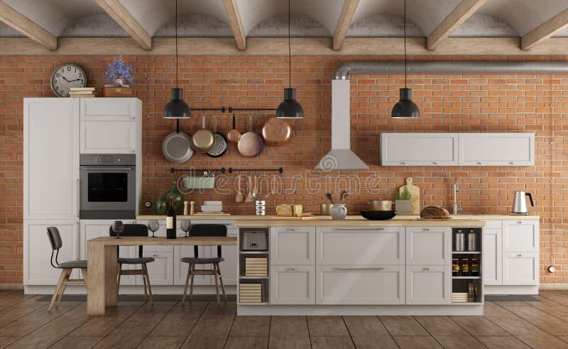 Retro- weiße Küche in einem alten Innenraum mit Backsteinmauer stock abbildung