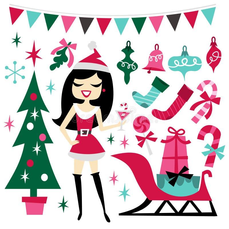Retro- Weihnachten-Santarina-Partei-Satz vektor abbildung