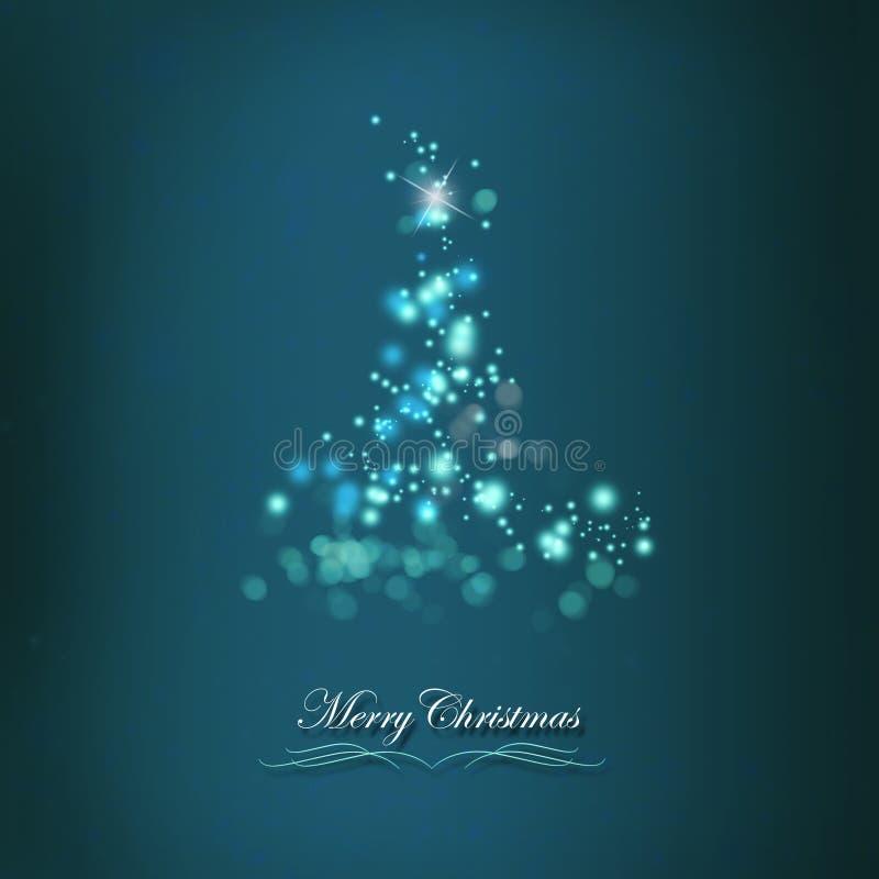 Retro- Weihnachtsbaum mit glänzenden Lichtern lizenzfreie abbildung