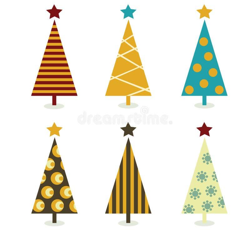 Retro- Weihnachtsbaumelemente vektor abbildung