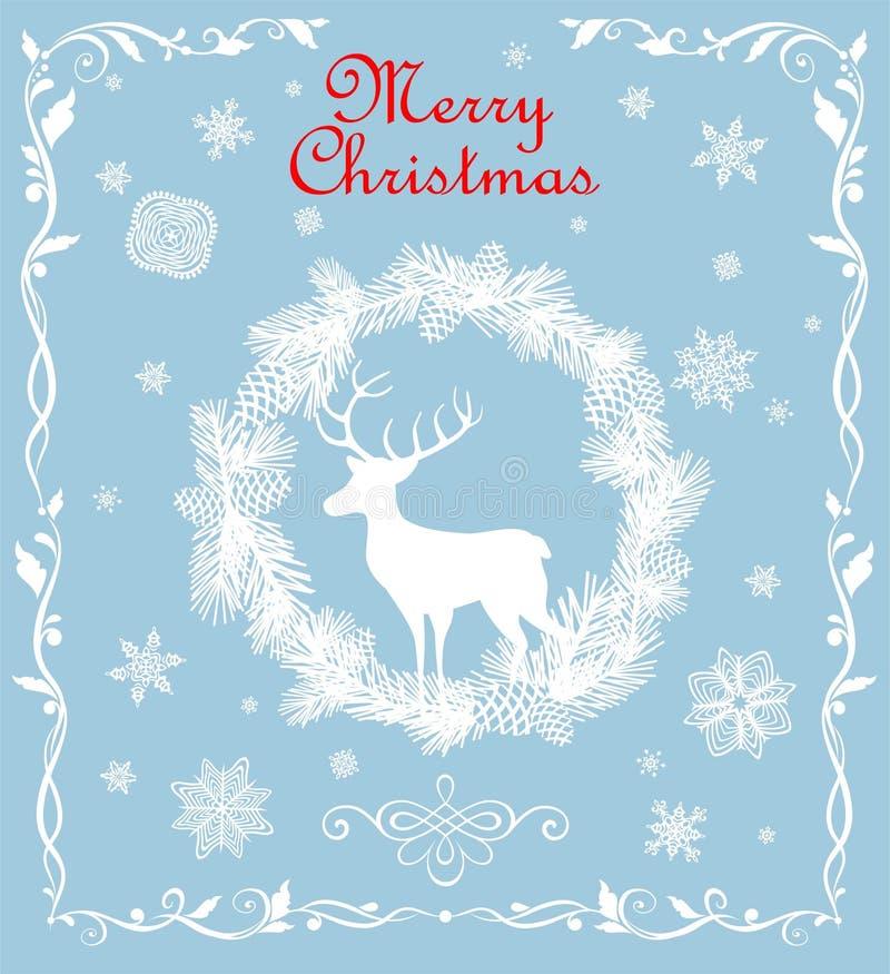 Retro- Weihnachtsgrüßende blaue Pastellkarte mit herausgeschnittenem Papiertannenkranz, -schneeflocken und -rotwild vektor abbildung