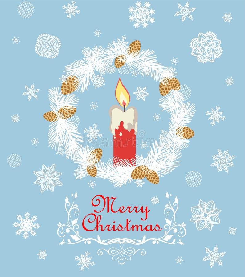 Retro- Weihnachtsgrußkarte mit herausgeschnittenem Papiertannenkranz, roter Kerze, Schneeflocken und goldenem Tannenbaumkegel lizenzfreie abbildung