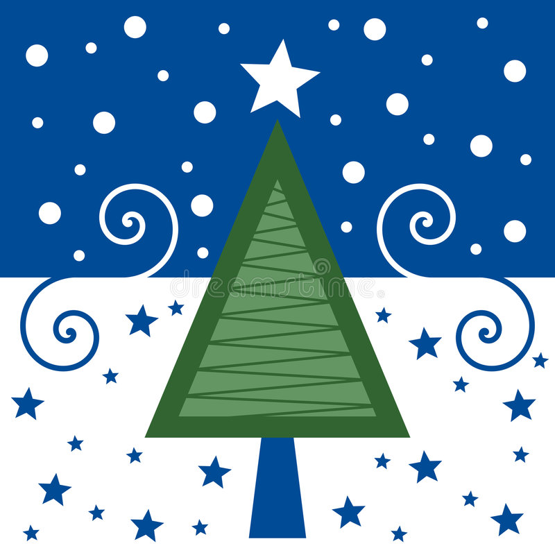 Retro- Weihnachtskarte [blau] vektor abbildung
